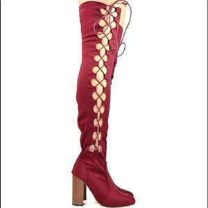 New Women Addison-2 Burgundy Thigh High Heel Boots